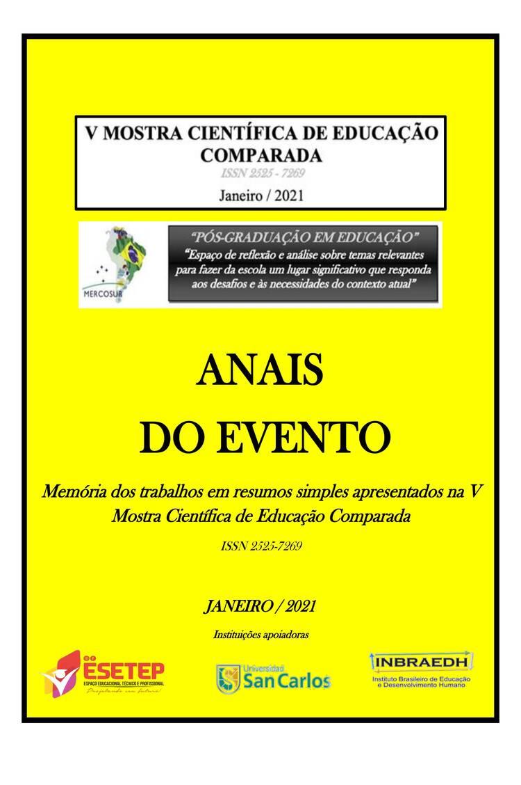 Capa do ebook ANAIS  DO EVENTO  Memórias dos trabalhos em resumos simples apresentados na V Mostra Científica de E